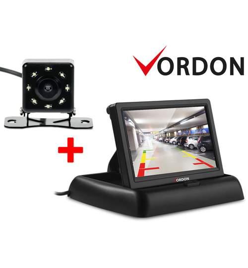 Pachet Camera Video Marsarier Auto de Mers Inapoi cu 8 LED-uri si Monitor LCD Pliabil de 4.3 Inch