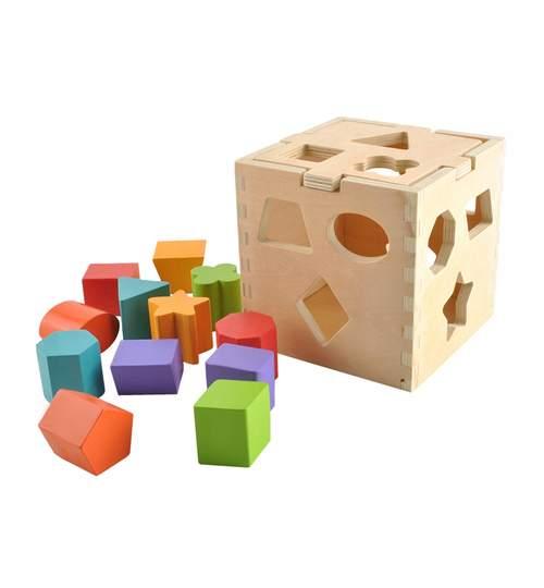 Cub Educational din Lemn cu 12 Forme Geometrice Multicolore pentru Copii 3 Ani+