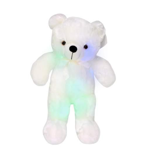 Ursulet de Plus Iluminat LED RGB Multicolor, Inaltime 50cm, Culoare Alb