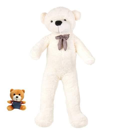 Ursulet de Plus Urias, Inaltime 200cm, Culoare Crem + Ursulet Mic Cadou