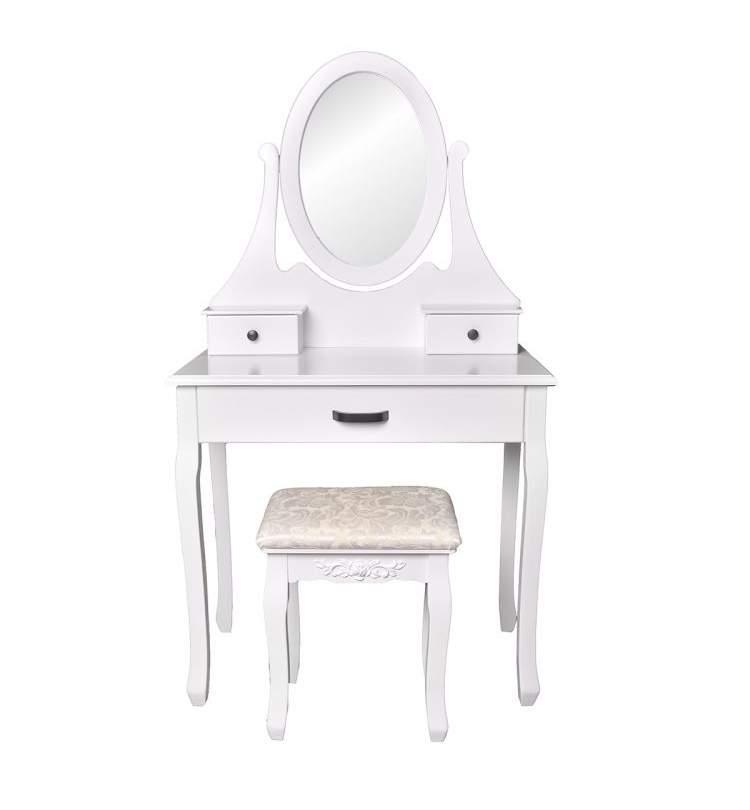 Set Masa Toaleta Pentru Machiaj Cu Oglinda Ovala Si 3 Sertare